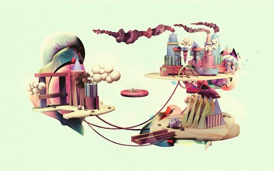 壁紙 クリエイティブな写真、工場、煙、風車