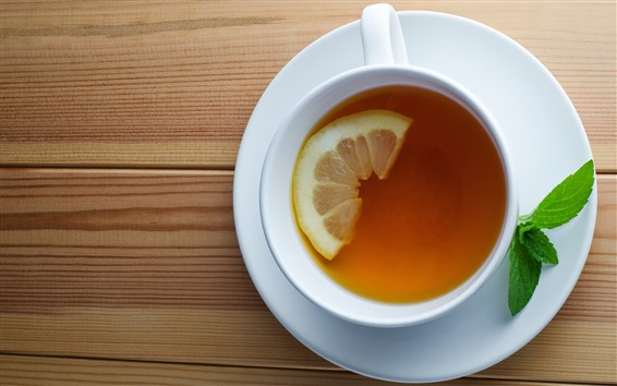 Papéis de Parede Xícara, chá, limão, hortelã