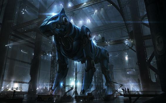 Обои Киборг, собака-робот, творческая картина
