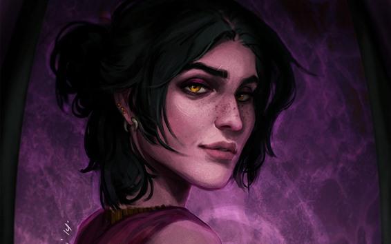 Wallpaper Dragon Age, short hair girl, look back