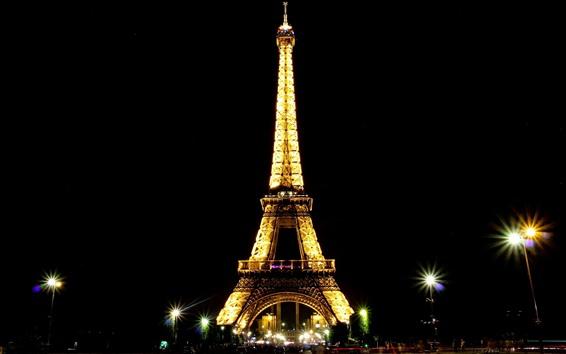 Papéis de Parede Torre Eiffel, noite, luzes, Paris