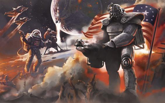 Papéis de Parede Fallout, guerreiro, bandeira, jogo