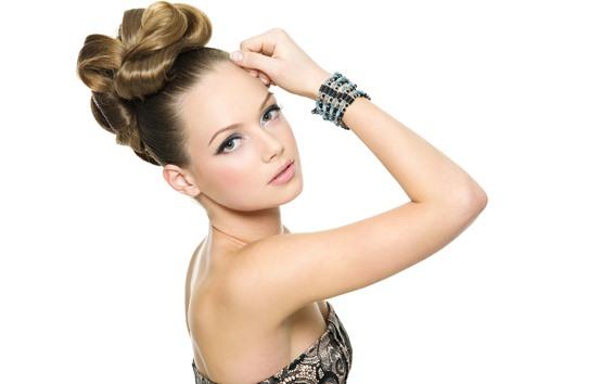 배경 화면 패션 소녀, 머리 스타일, 포즈, 흰색 배경