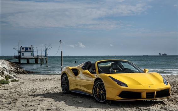Fondos de pantalla Ferrari 488 superdeportivo amarillo, mar, playa
