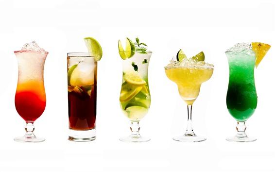 Fond d'écran Cinq tasses de cocktails, tasse en verre, coloré, fond blanc