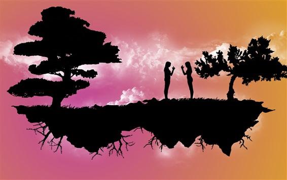 Papéis de Parede Ilha flutuante, árvores, duas garotas, silhueta, imagem criativa