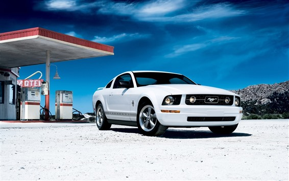 Wallpaper Ford Mustang white car front view
