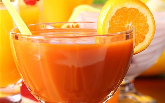 배경 화면 신선한 오렌지 주스, 유리 컵