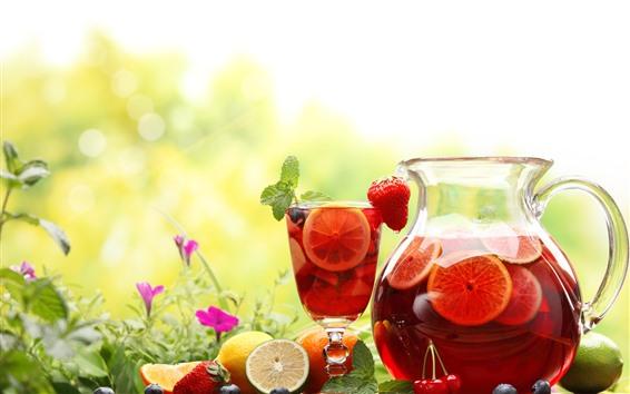 Fond d'écran Boissons aux fruits, bouilloire, tasse, citron, fraise, fleurs
