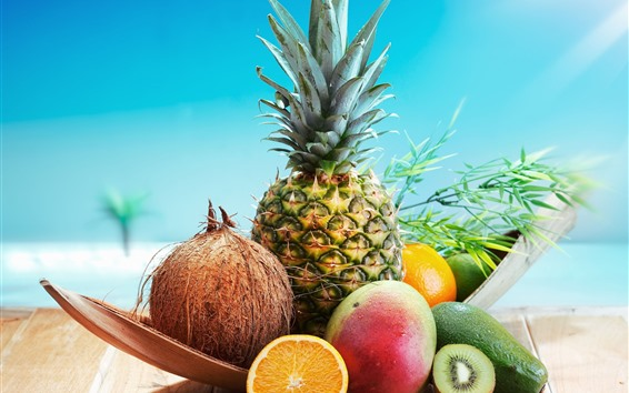 Обои Фрукты, ананас, кокос, авокадо, манго, киви, апельсин