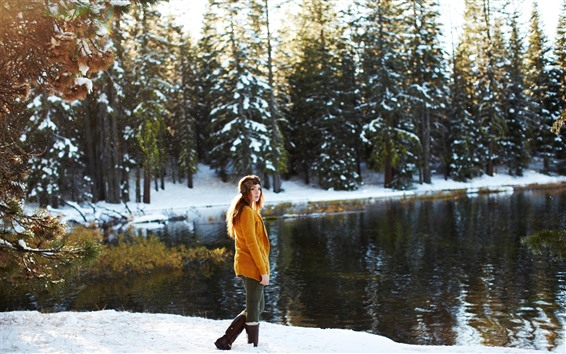 Wallpaper Girl look back, sweater, snow, trees, lake, winter