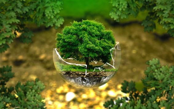 Обои Стеклянный шар, одно дерево, креативная дизайнерская картинка