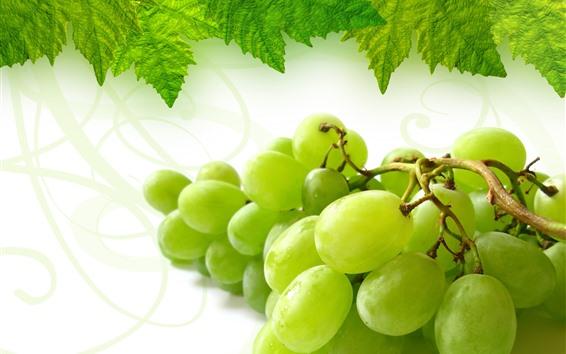Fond d'écran Raisins verts, feuilles vertes