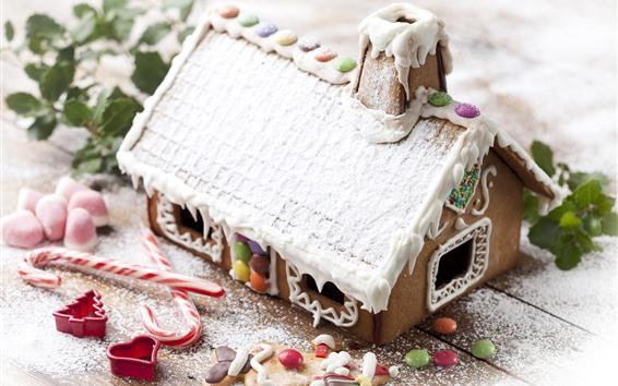 Обои Домик, снег, печенье, сливки, конфеты, Рождество