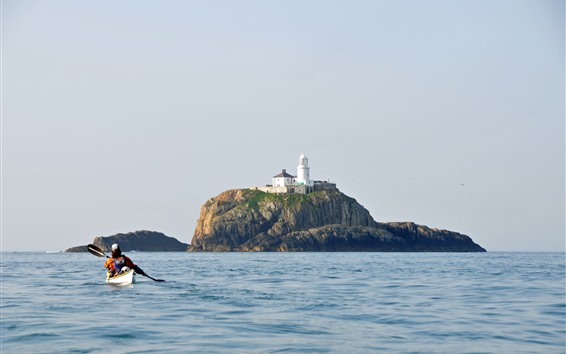 Обои Остров, маяк, лодка, море