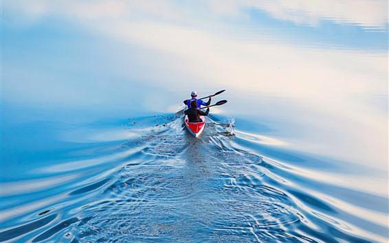 Обои Озеро, катание на лодках, спорт