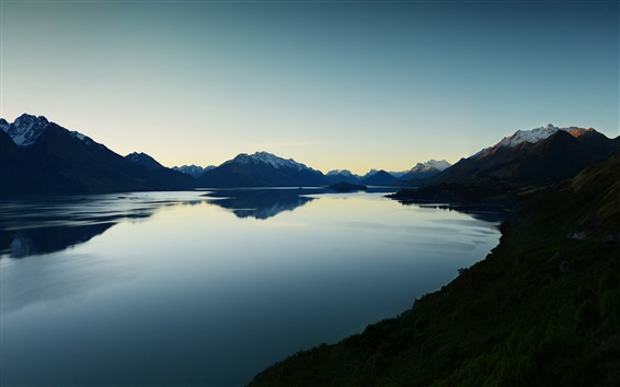 Wallpaper Lake, mountains, evening, nature scenery
