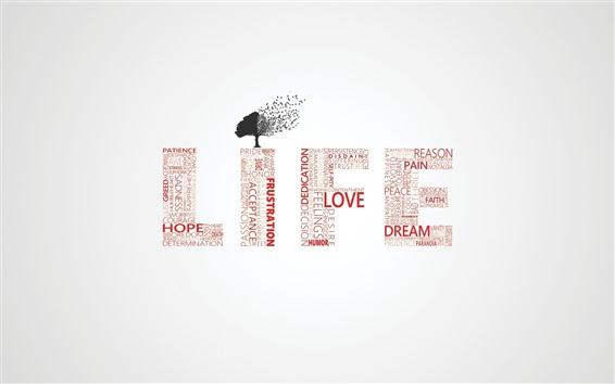 Fondos de pantalla Vida, árbol, palabras, diseño creativo.