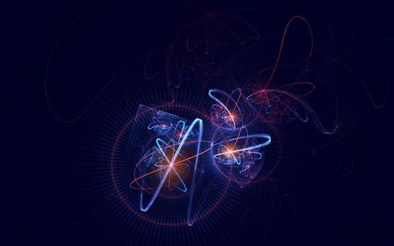 Fondos de pantalla Curvas de luz, plexo, fondo negro, cuadro abstracto