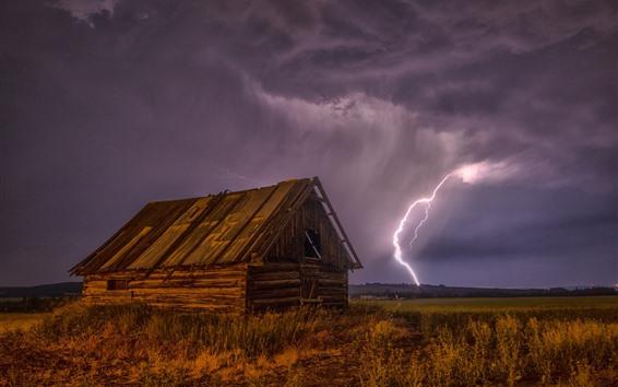 Papéis de Parede Relâmpago, casa de madeira, noite, nuvens