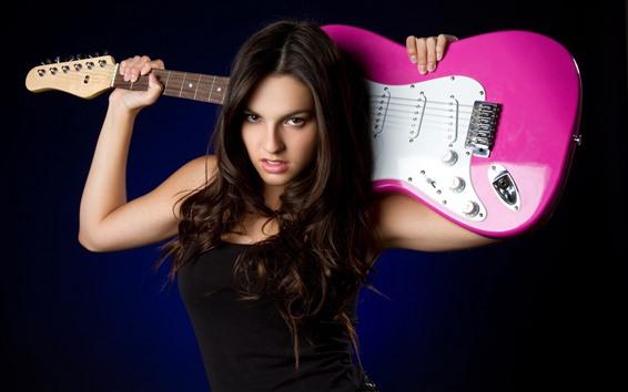 Papéis de Parede Garota de cabelo comprido, guitarra, fundo preto