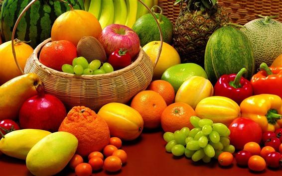 Wallpaper Many kinds of fruits, melon, grapes, oranges, mango, apple, kiwi