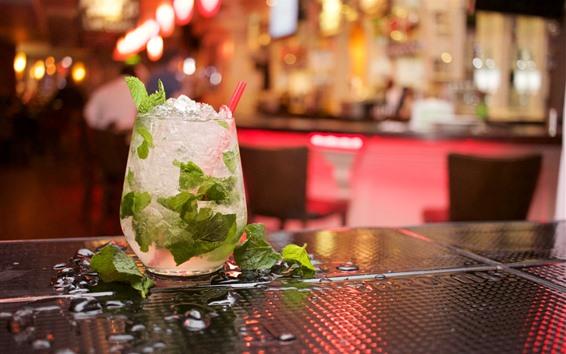 Wallpaper Mojito, drinks, ice, hazy background