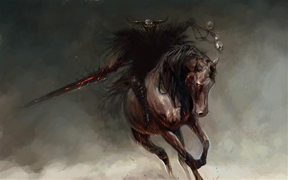 Wallpaper Monster, horse, rider, art picture