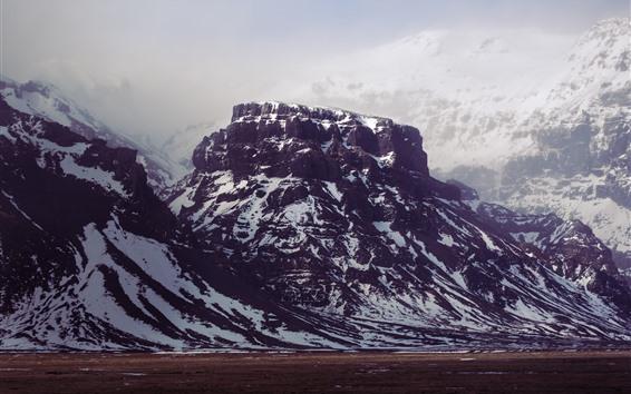 배경 화면 산, 눈, 바위, 안개, 겨울