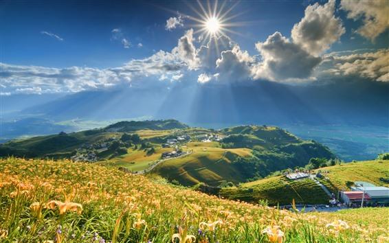 Fondos de pantalla Cima de la montaña, montañas, hierba, sol, campo