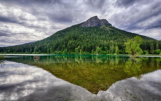 Fond d'écran Montagne, arbres, vert, lac, reflet de l'eau, nuages