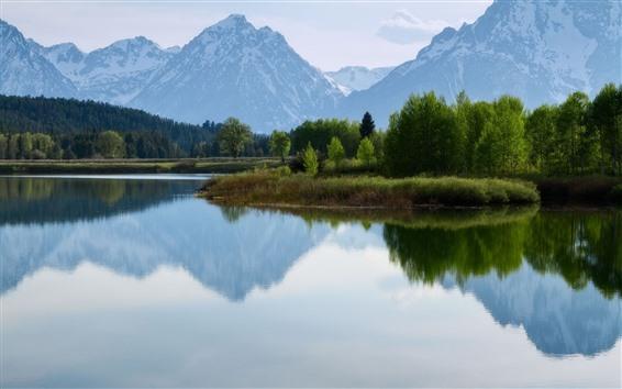 배경 화면 자연 풍경, 산, 호수, 물 반사, 나무, 눈