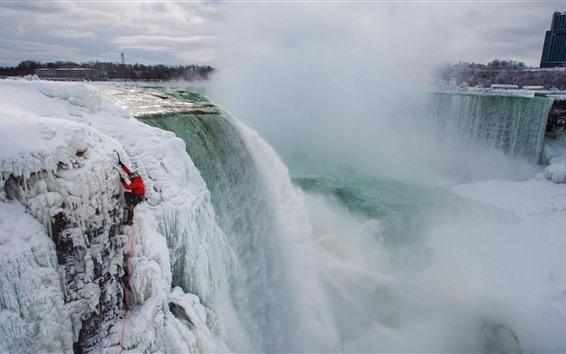 壁紙 ナイアガラの滝、雪、凍った、冬、霧