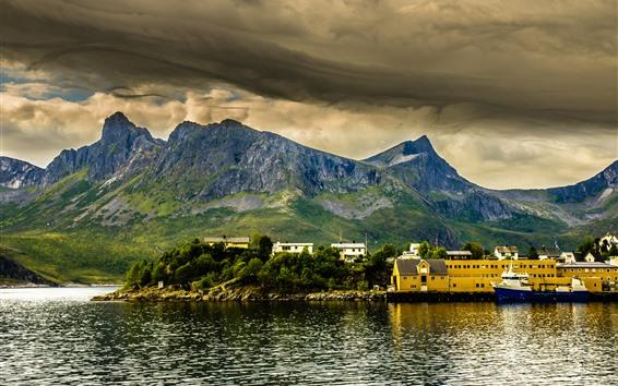 Fond d'écran Norvège, montagnes, bateau, maisons, mer, village