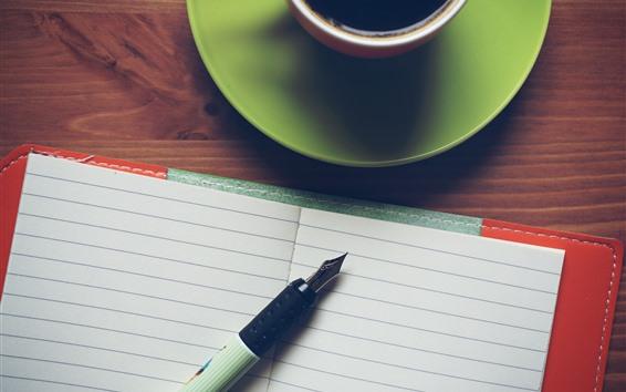 Обои Блокнот, ручка, кофе, чашка, натюрморт