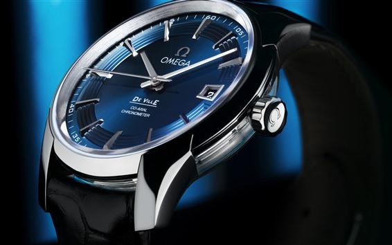 Fondos de pantalla Reloj Omega, esfera, azul