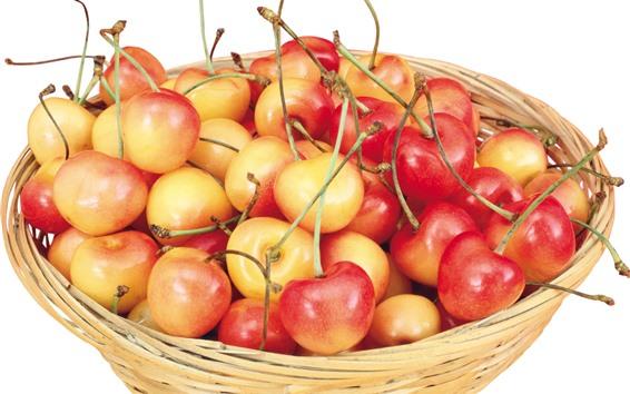 Papéis de Parede Uma cesta de cerejas, fundo branco