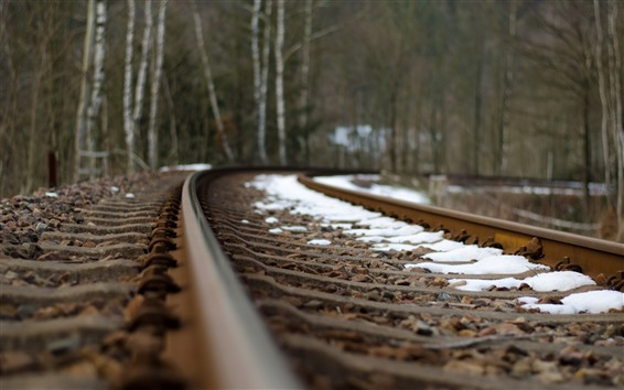 Fond d'écran Chemin de fer, piste, neige, brumeux