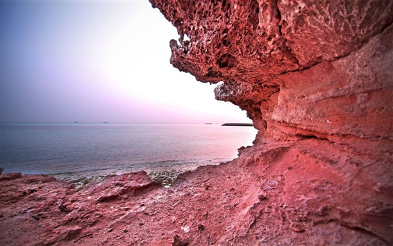 Fondos de pantalla Rocas rojas, mar, barcos