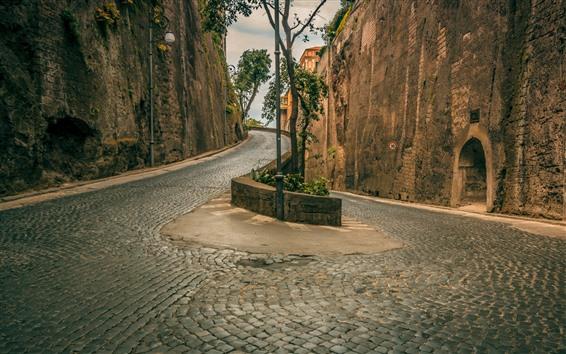 Papéis de Parede Estrada, tijolos, parede, edifícios