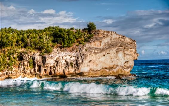 Обои Скалы, море, пляж, волны, пена