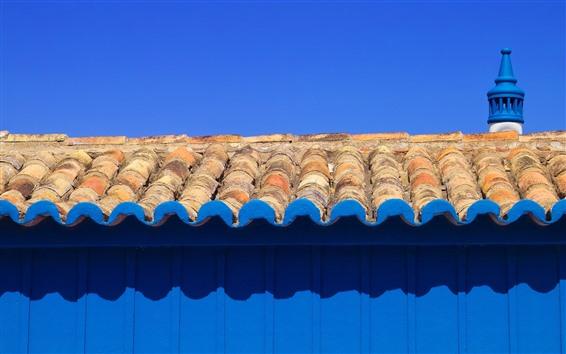 Papéis de Parede Telhado, parede azul, sombra