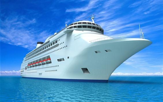 Обои Корабль, вид спереди, синее море