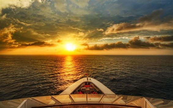 Papéis de Parede Navio, mar, nascer do sol, brilho