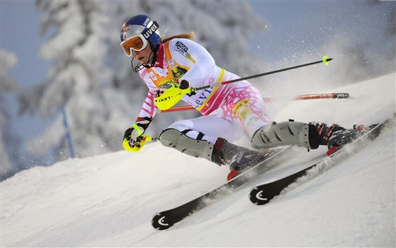 Обои Лыжи, женщины, снег, спорт