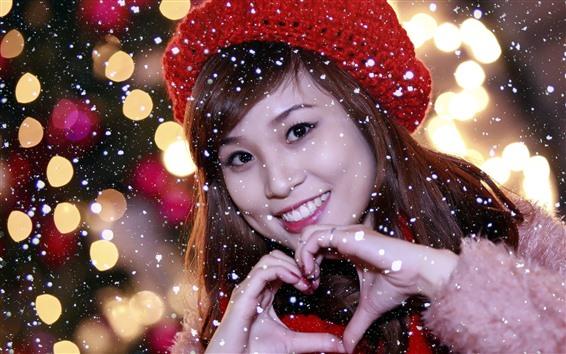 Papéis de Parede Sorriso menina asiática, inverno, neve, chapéu, coração de amor