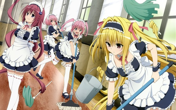 Wallpaper Some anime girls, cleaning