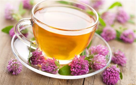 Wallpaper Tea, cup, pink flowers