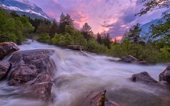 Papéis de Parede Árvores, riacho, rochas, nuvens, pôr do sol