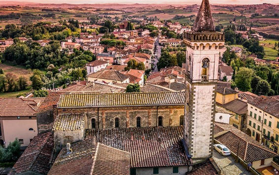 Papéis de Parede Toscana, Itália, igreja, cidade, casas, árvores